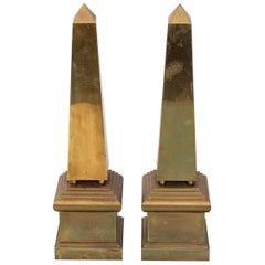 Pair of Italian Brass Obelisks