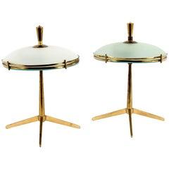 Pair of Italian Brass Side Lights Desk Lamps Pietro Chiesa Stilnovo Style, 1940s