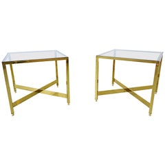 Pair of Italian Brass Side Tables with Glass Top, 1970s