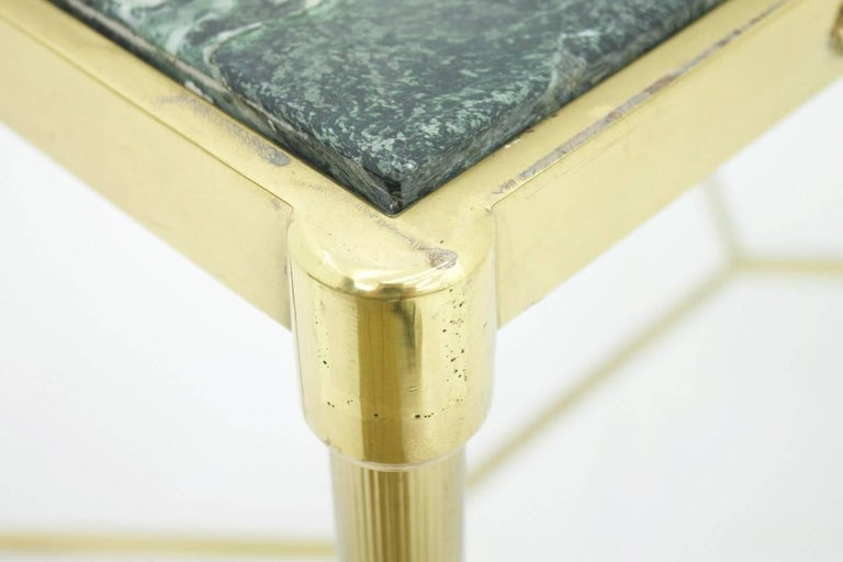 Pair of Italian Brass Side Tables with Green Marble Top, 1950s 10