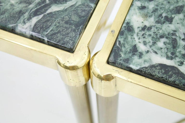Pair of Italian Brass Side Tables with Green Marble Top, 1950s 12