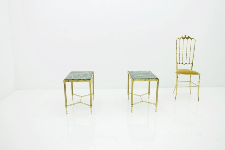 Pair of Italian Brass Side Tables with Green Marble Top, 1950s 14