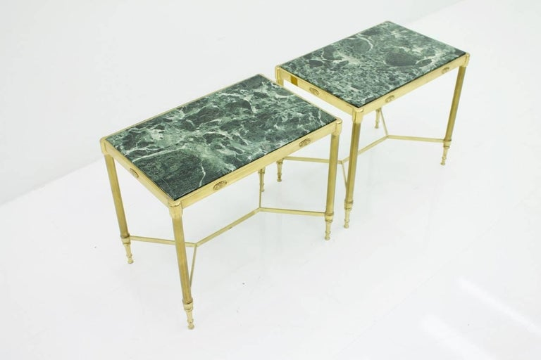Pair of Italian Brass Side Tables with Green Marble Top, 1950s 2