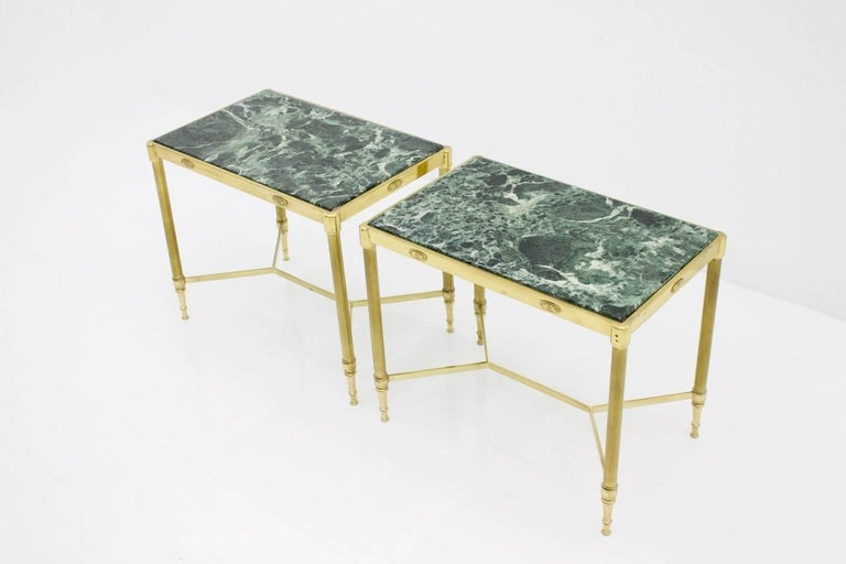 Pair of Italian Brass Side Tables with Green Marble Top, 1950s 3