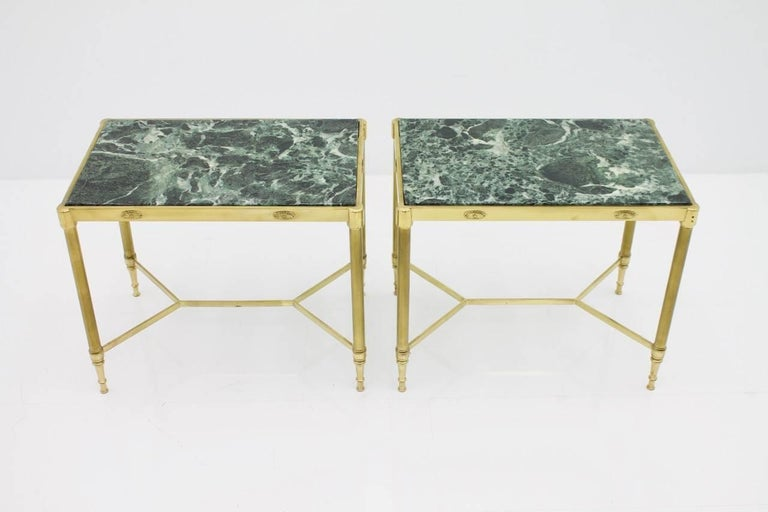 Pair of Italian Brass Side Tables with Green Marble Top, 1950s 4