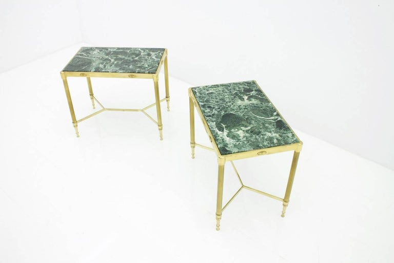 Pair of Italian Brass Side Tables with Green Marble Top, 1950s 5