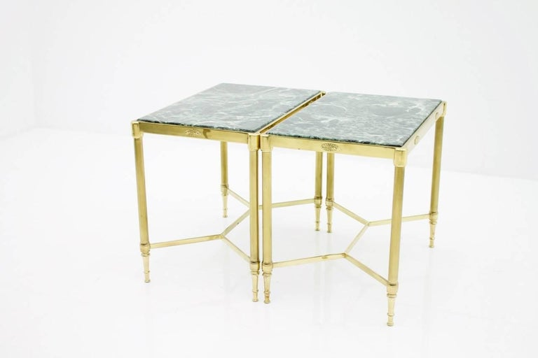 Pair of Italian Brass Side Tables with Green Marble Top, 1950s 6
