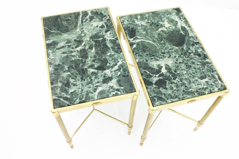 Pair of Italian Brass Side Tables with Green Marble Top, 1950s 7