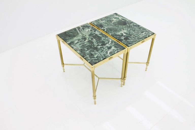 Pair of Italian Brass Side Tables with Green Marble Top, 1950s 8