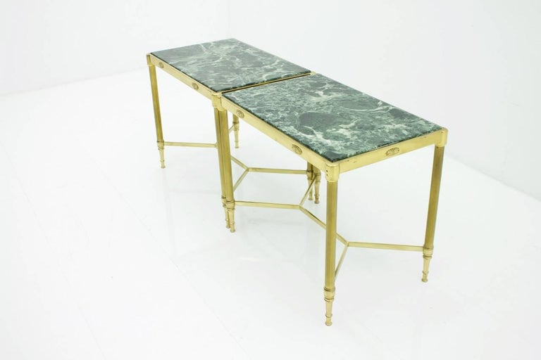 Pair of Italian Brass Side Tables with Green Marble Top, 1950s 9