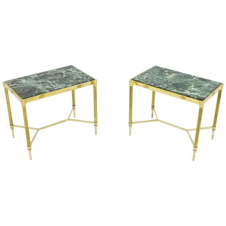 Pair of Italian Brass Side Tables with Green Marble Top, 1950s 1