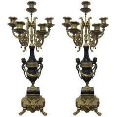 Pair of Italian Brevettato Brass Marble Candelabras
