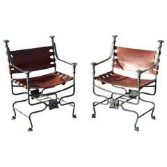 Pair of Italian Bronze and Iron Dante Savonarola Chairs