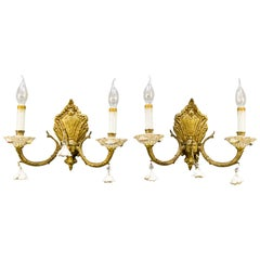 Pair of Italian Two-Light Bronze and Porcelain Floral Sconces