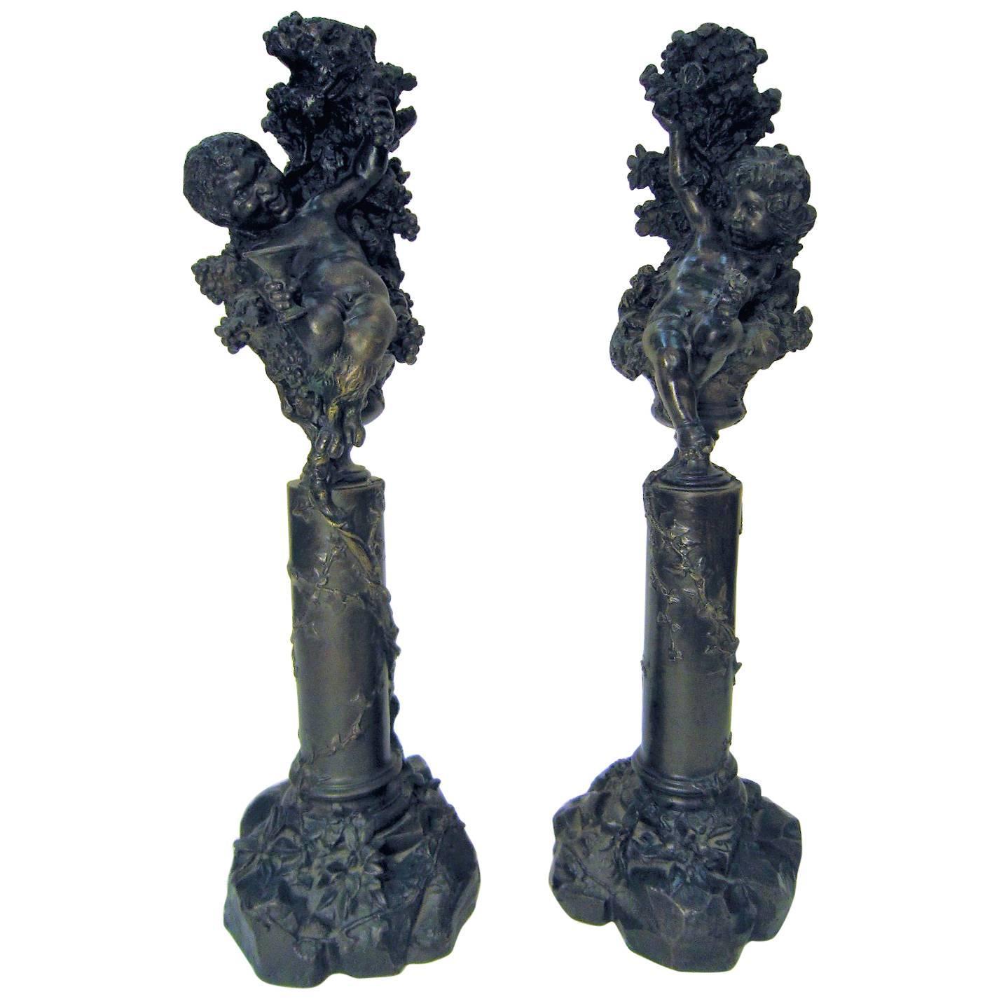 Pair of Italian Bronze Cherub/ Putti Candlesticks