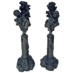 Pair of Italian Bronze Cherub/ Putti Candlesticks