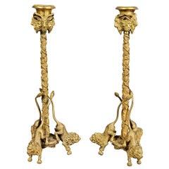 Pair of Italian Bronze Figural Candlesticks