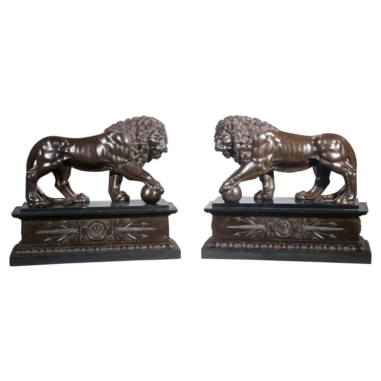 Pair of Italian Bronze Grand Tour Lions