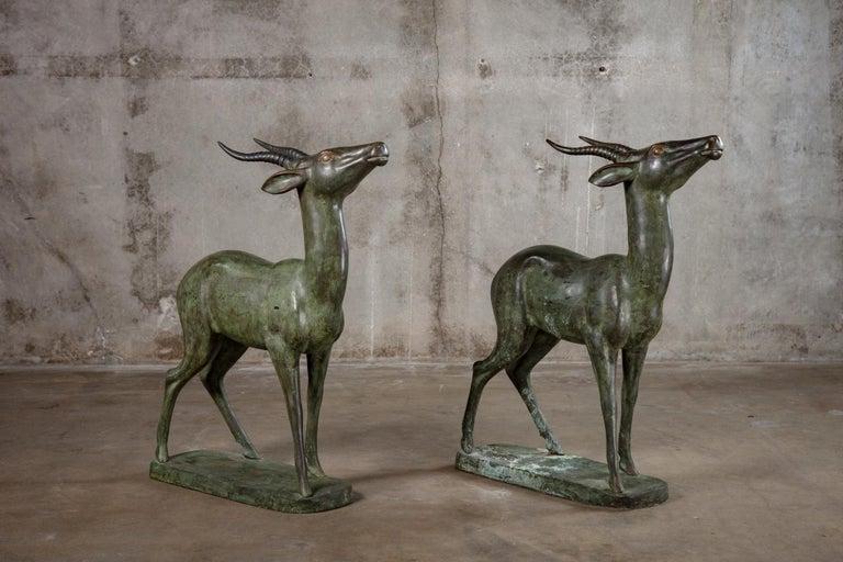 19th Century Pair of Italian Bronze Standing Deer For Sale