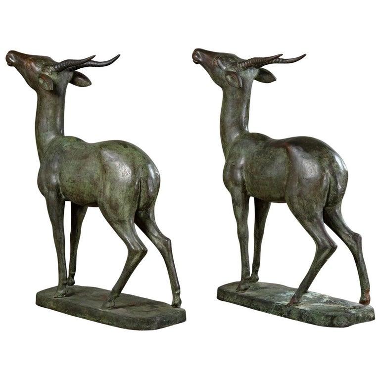 Pair of Italian Bronze Standing Deer For Sale