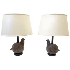Pair of Italian Brown Ceramic Birds Table Lamps by Bitossi