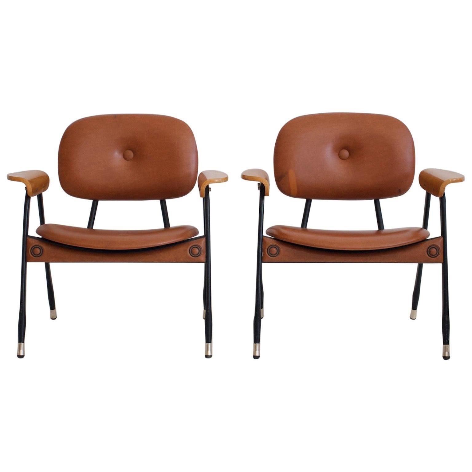 Pair of Italian Brown Leather and Metal Chairs