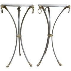 Pair of Italian Brushed Steel and Brass Pedestals with Travertine Tops