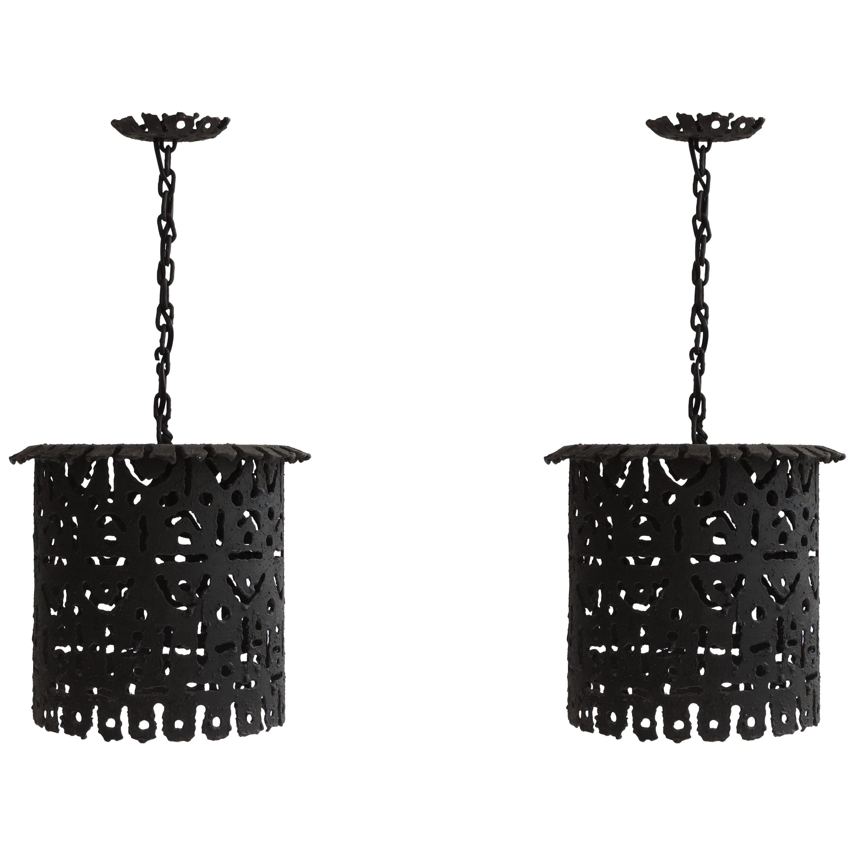 Pair of Italian Brutalist Lanterns, Italy, 1960s