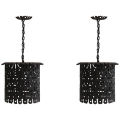 Pair of Italian Brutalist Lanterns, Italy, 1960s