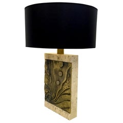 Pair of Italian Brutalist Travertine and Bronze Table Lamps