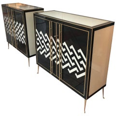 Pair of Italian Buffets in Tinted Glass