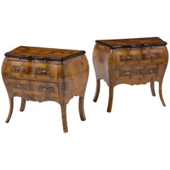 Pair of Italian Burl Walnut Nightstand