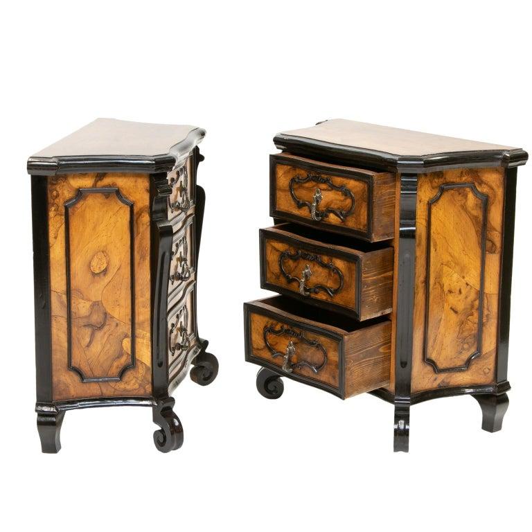 Veneer Pair of Italian Burl Wood Side Chest For Sale