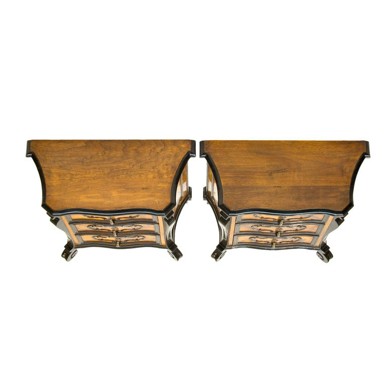 20th Century Pair of Italian Burl Wood Side Chest For Sale