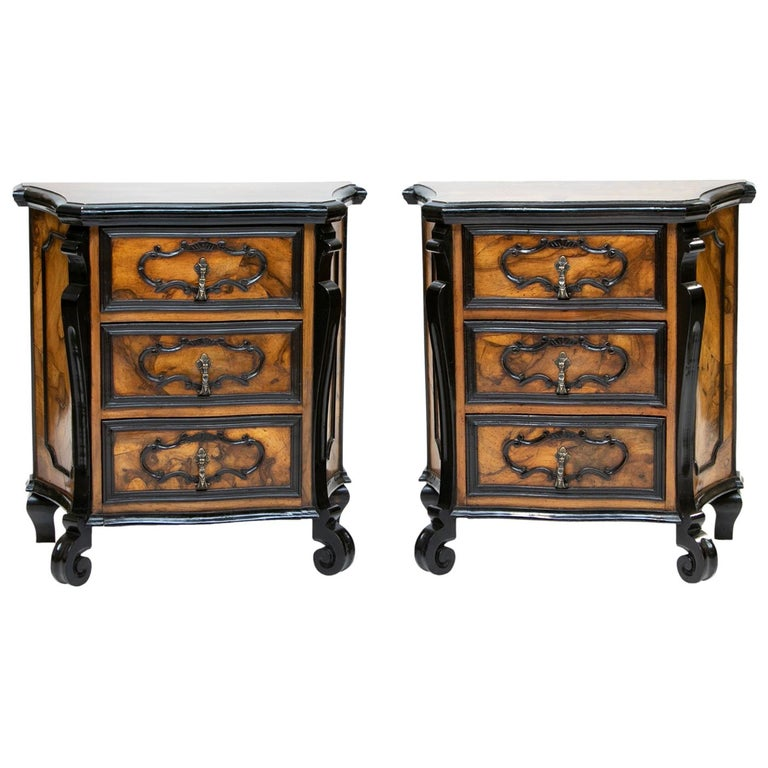 Pair of Italian Burl Wood Side Chest For Sale
