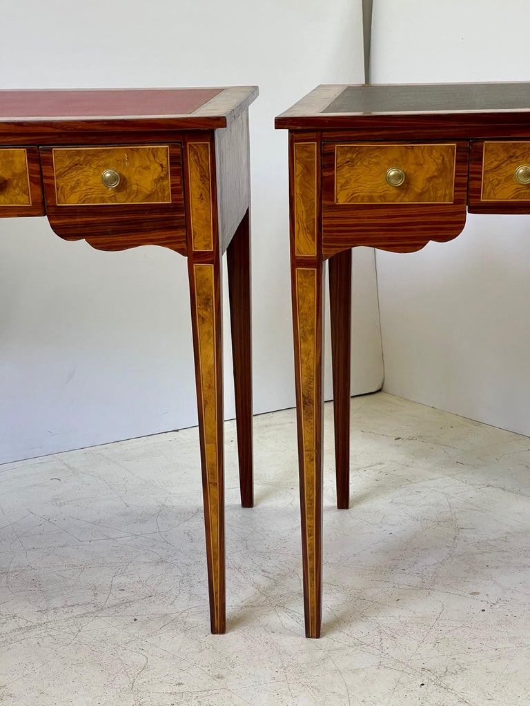 Neoclassical Pair of Italian Burl Wood Writing Tables For Sale