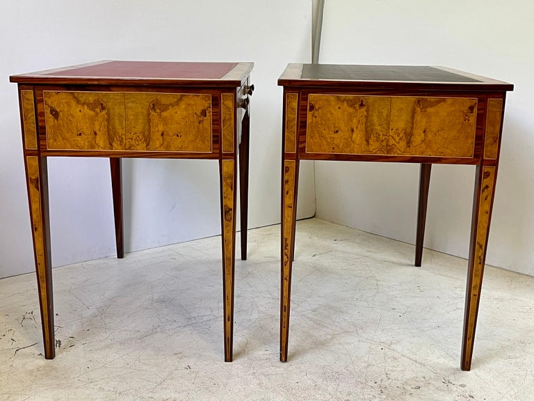 Pair of Italian Burl Wood Writing Tables In Good Condition For Sale In Atlanta, GA