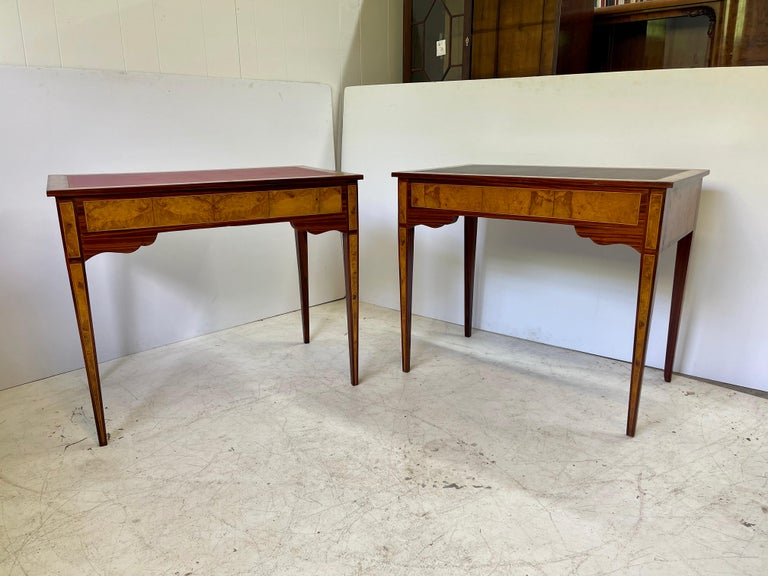 20th Century Pair of Italian Burl Wood Writing Tables For Sale