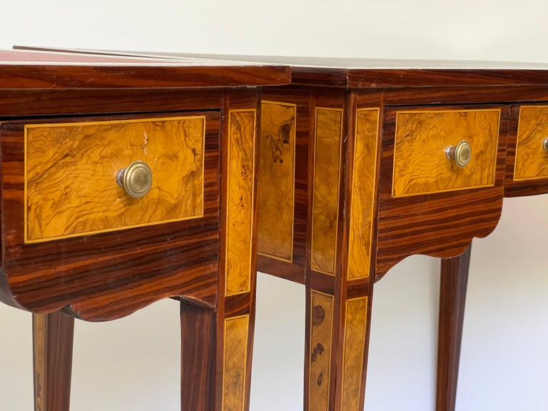 Pair of Italian Burl Wood Writing Tables For Sale 1