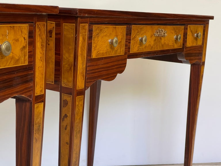 Pair of Italian Burl Wood Writing Tables For Sale 2