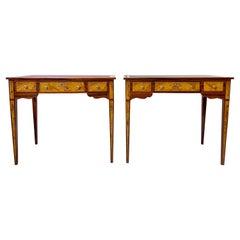 Pair of Italian Burl Wood Writing Tables