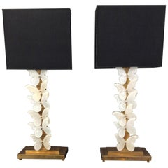 Pair of Italian Butterfly Table Lamps Murano Glass and Brass, circa 1970
