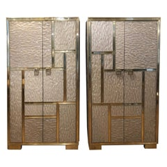 Pair of Italian Cabinets with Two Doors in Resin and Brass