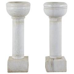 Pair of Italian Carrara Marble Church Font Urns