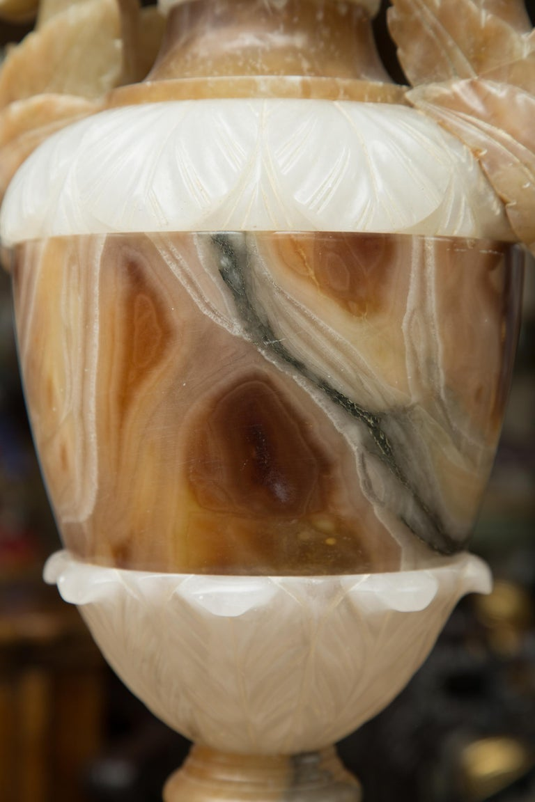 Pair of Italian Carved Alabaster and Onyx Table Lamps In Good Condition For Sale In WEST PALM BEACH, FL