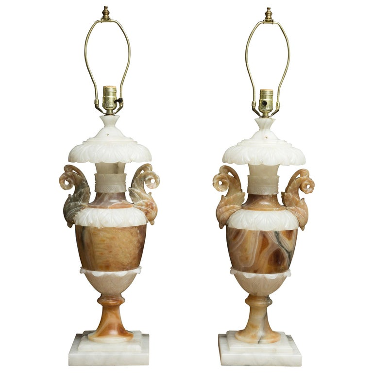 Pair of Italian Carved Alabaster and Onyx Table Lamps For Sale