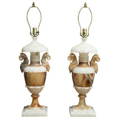 Pair of Italian Carved Alabaster and Onyx Table Lamps