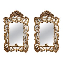 Pair of Italian Carved and Giltwood Mirrors