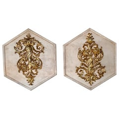 Pair of Italian Carved and Giltwood Panels