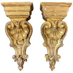 Pair of Italian Carved and Giltwood Wall Brackets